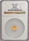 California Fractional Gold: , 1866 25C Liberty Round 25 Cents, BG-804, R.4, MS65 NGC. NGC Census:(2/1). PCGS Population (16/4). (#10665)...