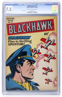 Blackhawk #12 (Quality, 1946) CGC VF- 7.5 Cream to off-white pages