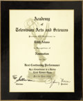 Movie/TV Memorabilia:Awards, Edie Adams' Emmy Nomination Plaque....