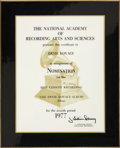 Movie/TV Memorabilia:Awards, Ernie Kovacs' Grammy Award Nomination Plaque....