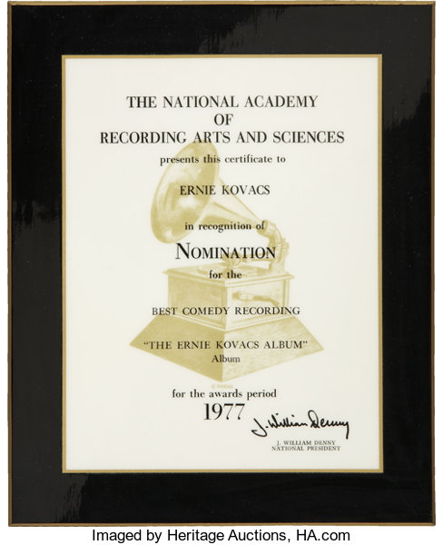 Ernie Kovacs\' Grammy Award Nomination Plaque.... Movie/TV | Lot ...