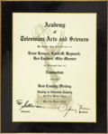 Movie/TV Memorabilia:Awards, Ernie Kovacs' Best Writing Emmy Award Nomination Plaque....