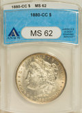 Morgan Dollars: , 1880-CC $1 MS62 ANACS. NGC Census: (417/4620). PCGS Population (903/8964). Mintage: 591,000. Numismedia Wsl. Price for NGC/...