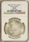 Morgan Dollars: , 1880 $1 8 Over 7 AU58 NGC. VAM-6. Spikes. Top 100. PCGS Population (1/26). (#7098)...