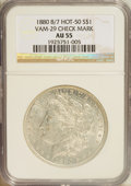 Morgan Dollars: , 1880 $1 8 Over 7 AU55 NGC. Hot-50 Vam-29 Check Mark. PCGS Population (5/27). (#7098)...