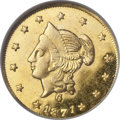 California Fractional Gold, 1871 $1 Liberty Round 1 Dollar, BG-1204, High R.5, MS64 DeepProoflike NGC. CAC....