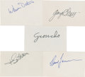 Movie/TV Memorabilia:Autographs and Signed Items, Groucho Marx and Others Signed Notecards.... (Total: 5 Items)
