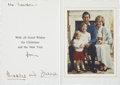 Movie/TV Memorabilia:Memorabilia, Prince Charles and Princess Diana Signed Christmas Card....