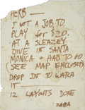 Music Memorabilia:Autographs and Signed Items, Frank Zappa Handwritten Note to Herb Cohen....