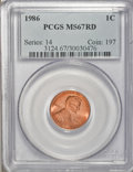 Lincoln Cents: , 1986 1C MS67 Red PCGS. PCGS Population (177/29). NGC Census:(162/32). Numismedia Wsl. Price for NGC/PCGS coin in MS67: $4...