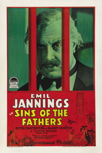 """Sins of the Fathers (Paramount, 1928). One Sheet (27"""" X 41"""")"""