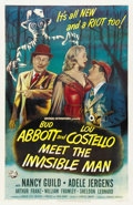 "Movie Posters:Horror, Abbott and Costello Meet the Invisible Man (Universal, 1951). OneSheet (27"" X 41"")...."