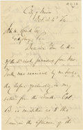 "Autographs:Military Figures, U.S. General Daniel Sickles Autograph Letter Signed ""D. Sickles Maj Genl U.S.A."". 2¼ pages, 5"" x 8"" plain paper, City of..."