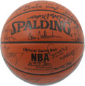 Basketball Collectibles:Balls, NBA 50th Anniversary All-Time Team Basketball Signed by 28. Chosenin 1996 by select panelists from the media and basketbal...