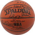 Basketball Collectibles:Balls, NBA 35th Anniversary All-Time Team Basketball Signed by 9. In 1981the 35th Anniversary of the NBA was celebrated by the se...