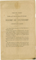 Military & Patriotic:Civil War, 1862 Program for the Second Inaugural of Jefferson Davis and Alexander Stephens, Titled Programme for the Inauguration of th...