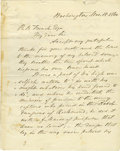 """Military & Patriotic:Civil War, Admiral John Dahlgren Letter to Benjamin French Lamenting the Death of His Son On the Richmond Raid. Four pages, 7.75"""" x 9.7..."""