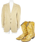Music Memorabilia:Costumes, Elvis Presley Related - J. D. Sumner's Camel Sport Coat and Boots (1980s). ... (Total: 3 Items)
