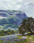 Texas:Early Texas Art - Impressionists, WILLIAM A. SLAUGHTER (American, 1923-2003). Bluebonnets andRocky Cliff. Oil on canvas. 30 x 24 inches (76.2 x 61.0 cm)...