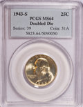 Washington Quarters, 1943-S 25C Doubled Die Obverse MS64 PCGS....