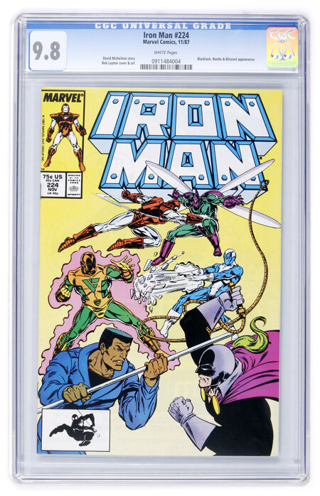 Iron Man #224 (Marvel, 1987) CGC NM/MT 9.8 White pages....