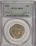 Seated Quarters, 1850 25C Extra 1 in Denticles MS62 PCGS....