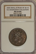 1835 1C Small 8 and Stars MS64 Brown NGC....(PCGS# 1717)