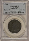 Large Cents, 1794 1C Head of 1795 VF20 PCGS....