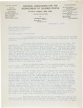 """Autographs:Celebrities, James Weldon Johnson Typed Letter Signed, """"James W.Johnson"""". Two pages, 8.5"""" x 11"""", February 7, 1922, New York,New Yor..."""