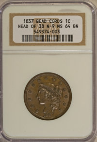 1837 1C Head of 1838 MS64 Brown NGC....(PCGS# 1729)