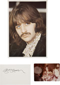 Music Memorabilia:Autographs and Signed Items, Beatles Related - George Harrison and Ringo Starr Autographs....(Total: 3 Items)