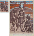 Music Memorabilia:Posters, Grateful Dead Three Indian Dudes Avalon Concert SignedPoster & Postcard FD-54 Group (Family Dog, 1967). ... (Total: 2Items)