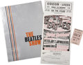 Music Memorabilia:Posters, Beatles 1963 Handbill, Tour Book, and Ticket.... (Total: 3 Items)