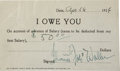 "Music Memorabilia:Autographs and Signed Items, Fats Waller Signed ""I Owe You""...."