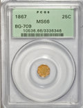 California Fractional Gold, 1867 25C Liberty Octagonal 25 Cents, BG-709, R.4, MS66 PCGS....