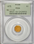 California Fractional Gold, 1875 $1 Indian Octagonal 1 Dollar, BG-1112, High R.5, MS64 PCGS....