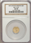 California Fractional Gold, 1873 $1 Indian Octagonal 1 Dollar, BG-1123, High R.4, AU58 NGC....