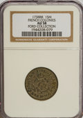 Colonials, 1738-BB SOU M French Colonies Sou Marque AU58 NGC. Ex: FordCollection. PCG...