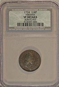 1724 FARTH Hibernia Farthing--Scratched--NCS. VF Details. NGC Census: (0/0). PCGS Population (0/9). (#187)