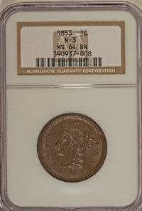 1853 1C MS64 Brown NGC. N-3. NGC Census: (53/69). PCGS Population (177/83). Mintage: 6,641,131. Numismedia Wsl. Price fo...