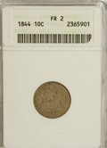 Seated Dimes: , 1844 10C F2 ANACS. NGC Census: (1/49). PCGS Population (0/120). Mintage: 72,500. Numismedia Wsl. Price for NGC/PCGS coin in...