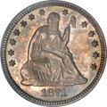 Seated Quarters, 1871 25C MS64 PCGS....