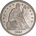Seated Dollars, 1845 $1 AU55 PCGS. CAC....