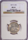 Seated Quarters: , 1877-S 25C MS63 NGC. NGC Census: (57/124). PCGS Population(72/123). Mintage: 8,996,000. Numismedia Wsl. Price for NGC/PCGS...