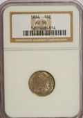 Bust Dimes: , 1834 10C Small 4 AU58 NGC. NGC Census: (34/154). PCGS Population(22/83). Mintage: 635,000. Numismedia Wsl. Price for NGC/P...