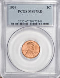 Lincoln Cents: , 1934 1C MS67 Red PCGS. PCGS Population (250/7). NGC Census: (374/3). Mintage: 219,080,000. Numismedia Wsl. Price for NGC/PC...