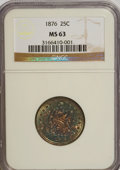 Seated Quarters: , 1876 25C MS63 NGC. NGC Census: (84/134). PCGS Population (107/167).Mintage: 17,817,150. Numismedia Wsl. Price for NGC/PCGS...