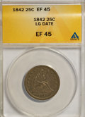 Seated Quarters: , 1842 25C Large Date XF45 ANACS. NGC Census: (1/32). PCGS Population(3/21). Mintage: 88,000. Numismedia Wsl. Price for NGC/...