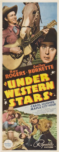 "Movie Posters:Western, Under Western Stars (Republic, 1938). Insert (14"" X 36"").. ..."