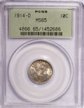 Barber Dimes: , 1914-D 10C MS65 PCGS. PCGS Population (41/20). NGC Census: (33/23).Mintage: 11,908,000. Numismedia Wsl. Price for NGC/PCGS...